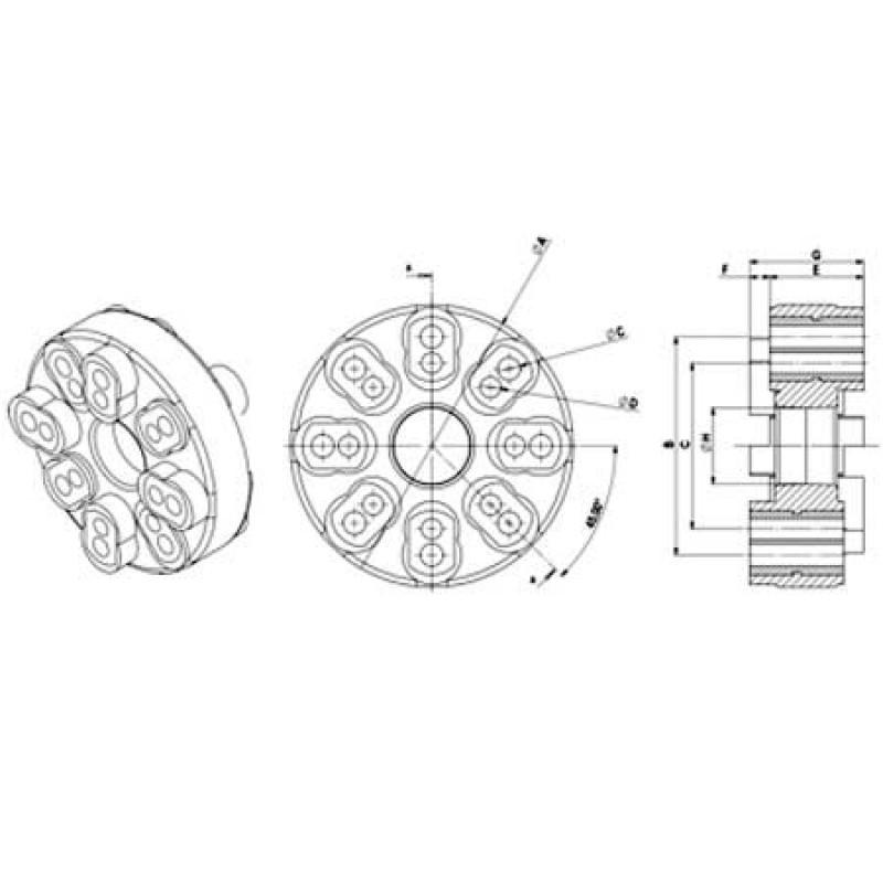 Acoplamiento flexible Ejes a Reductoras 120mm 16 Agujeros
