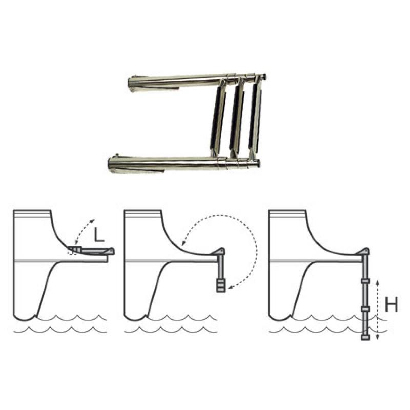Escalera acero inoxidable 3 peldaños de plataformas popa