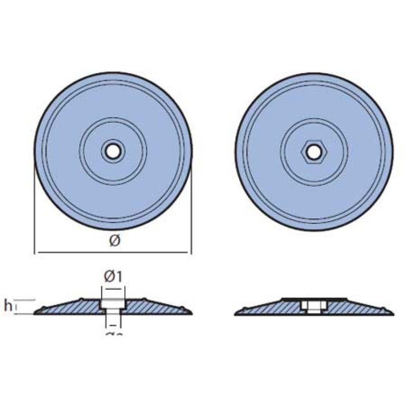 Double flange rudder/hull zinc anodes with screws 90mm
