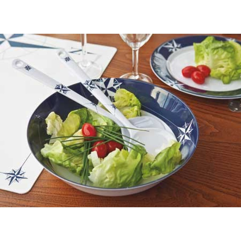 Northwind decorated salad bowl with serve cutlery