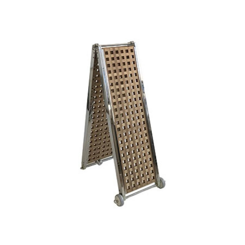 Stainless Steel frame folding gangway with grating Iroko wood walkway 230 x 32cm